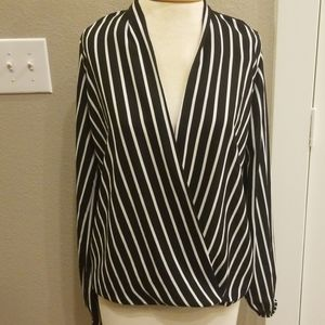 Black and White Deep V Neck Blouse